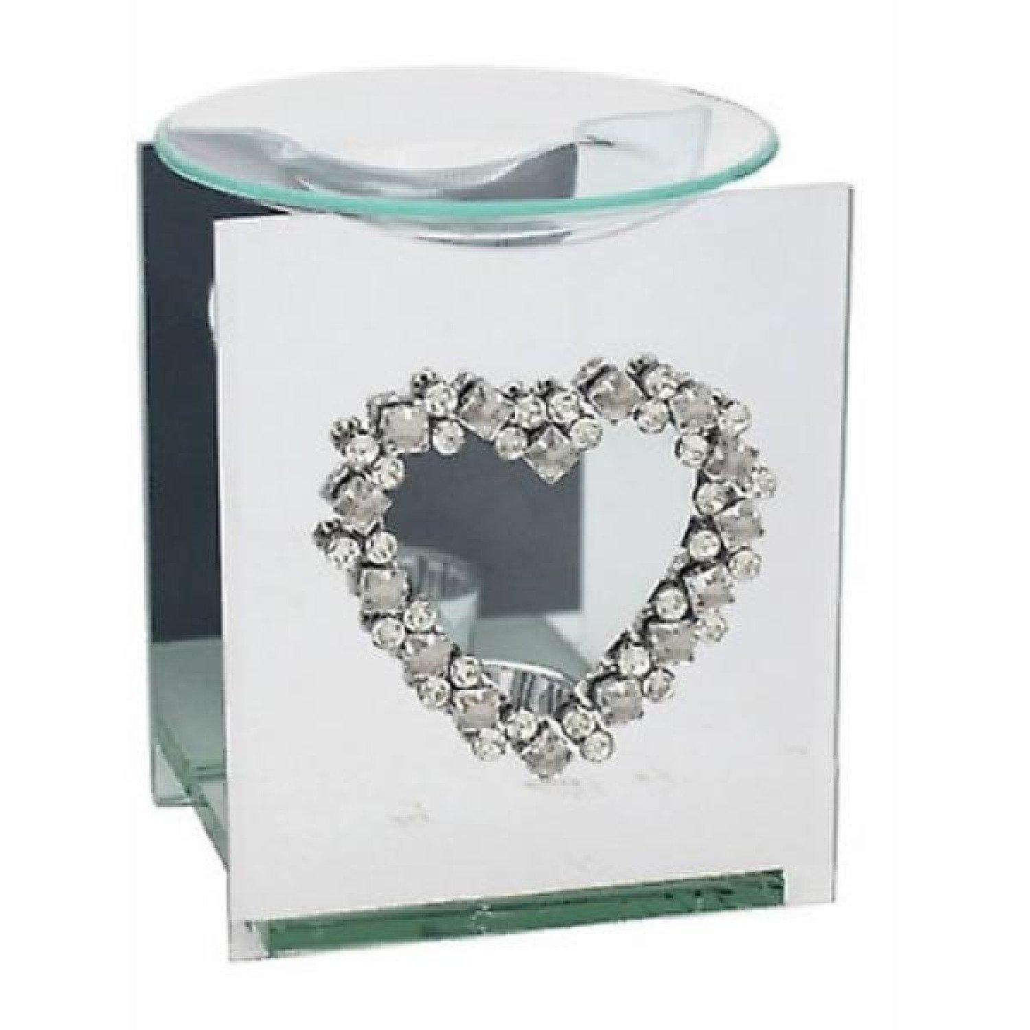 Mirror Diamante Wax Melter With Diamante Heart Design