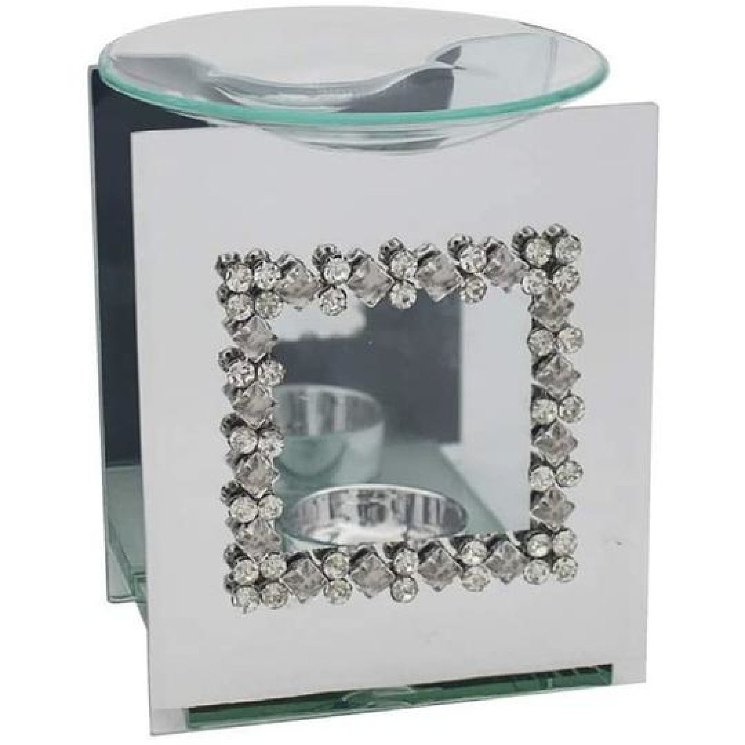 Mirror Diamante Wax Melter With Square Diamante Design