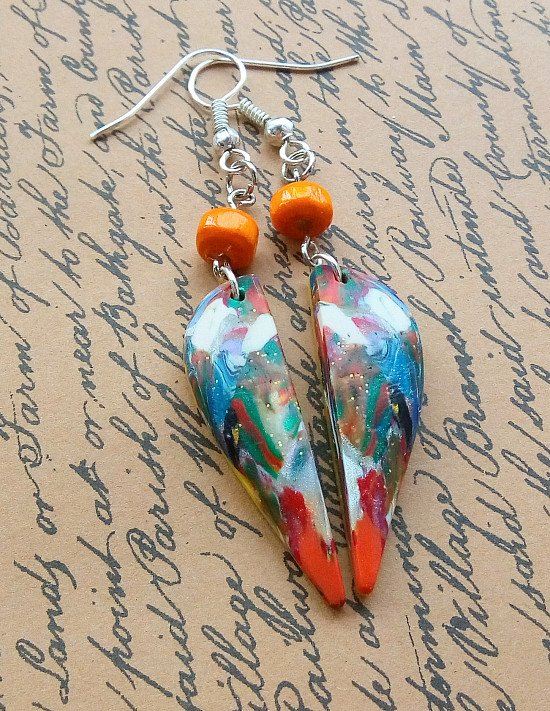 New shop listing.... Colourful pattern earrings