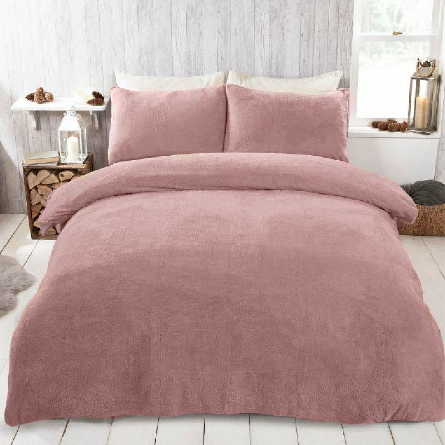 BRENTFORDS TEDDY FLEECE DUVET COVER SET - BLUSH PINK