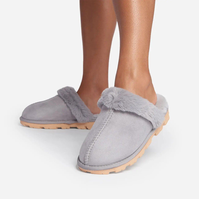 SAVE - Smooch Fluffy Track Sole Slipper In Grey Faux Suede