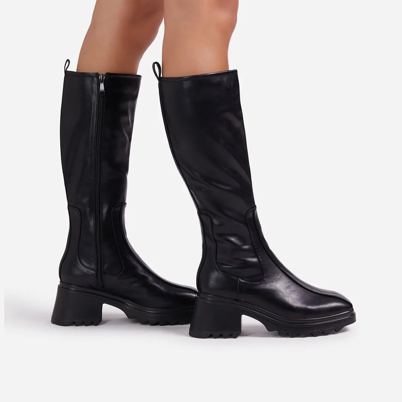 SAVE - Burst Block Heel Knee High Long Wellington Boot In Black Faux Leather