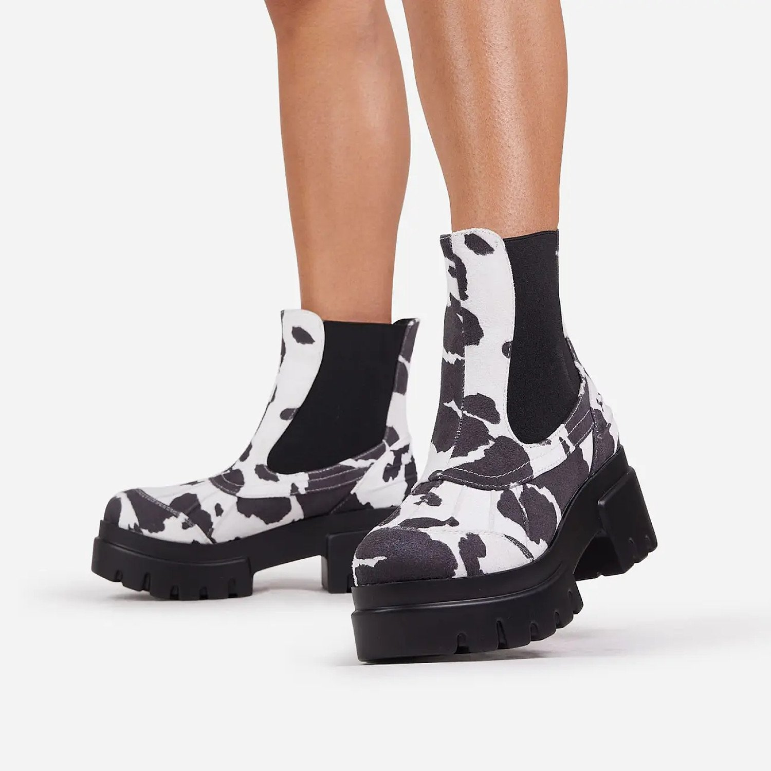 SAVE - Raven Chunky Sole Ankle Biker Boot In Cow Print Faux Suede