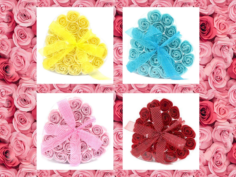 Set of 24 Soap Flower Heart Box