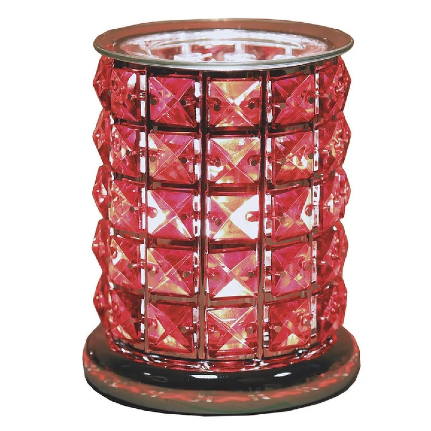 Touch Electric Aroma Wax Melt Burner Red Crystal Diamond Style Free Postage