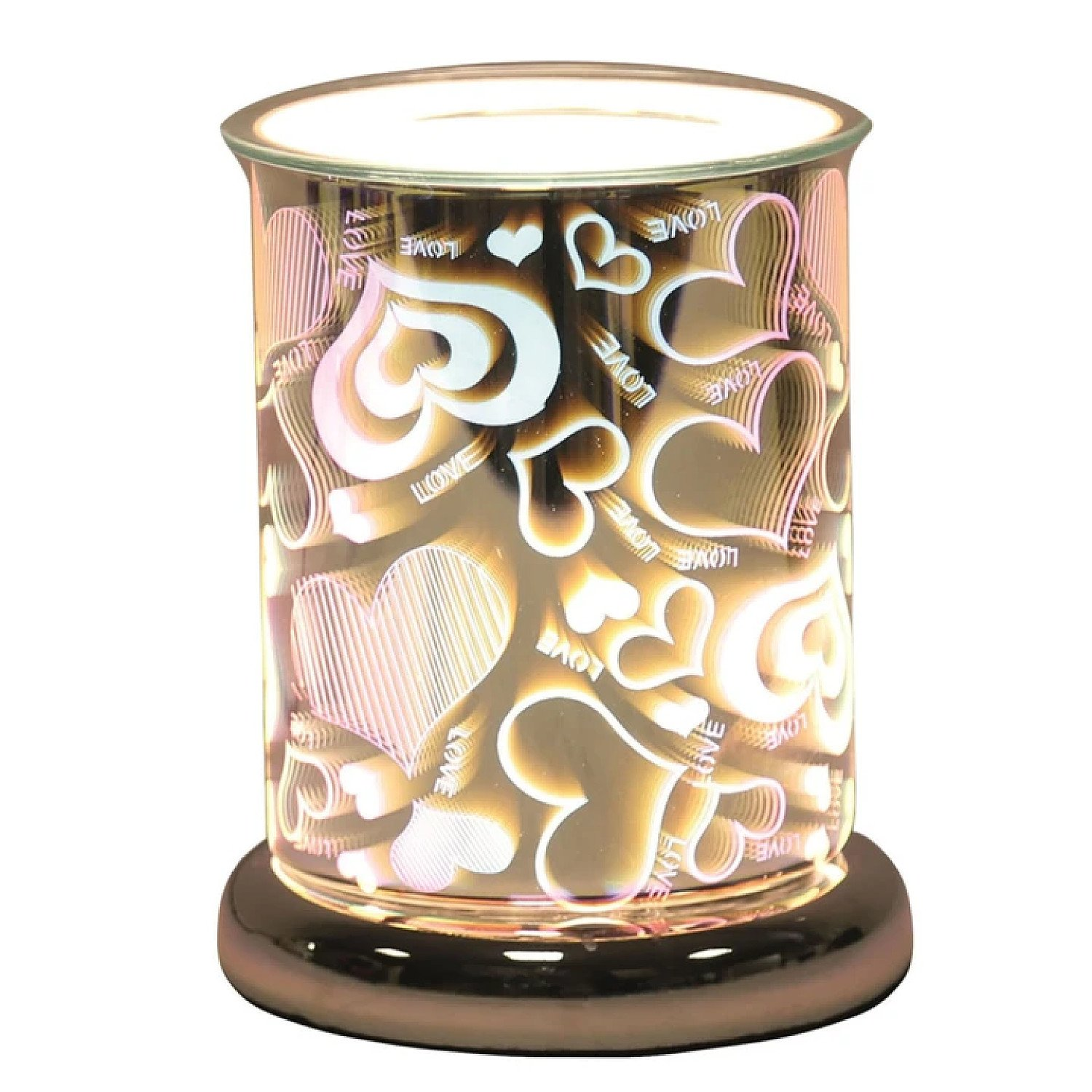 (Love - Cylinder) Oval 3D Lights Scented Aroma Wax Burner Electric Touch Lamp