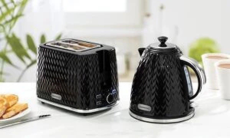 Daewoo Argyle Modern Cordless Black Kettle & 2 Slice Toaster Set Free Postage