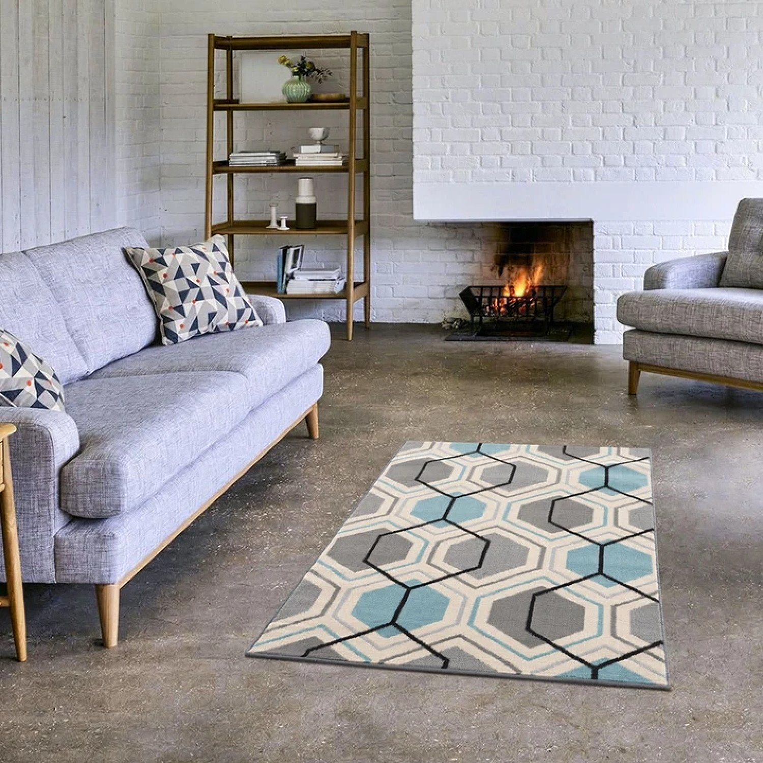 Gustavo Collection Geometric Design Modern Rugs in Duck egg Blue