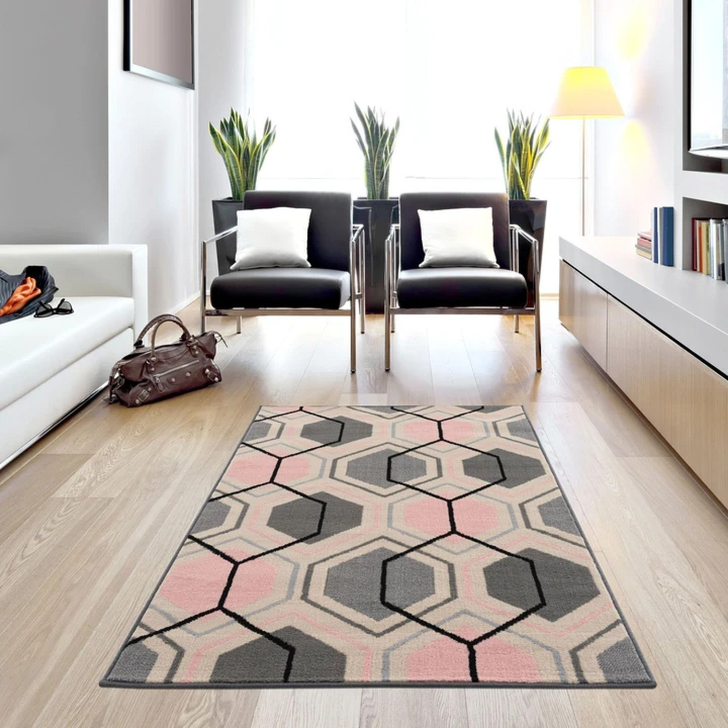 Gustavo Collection Geometric Design Modern Rugs in Pink Free Postage