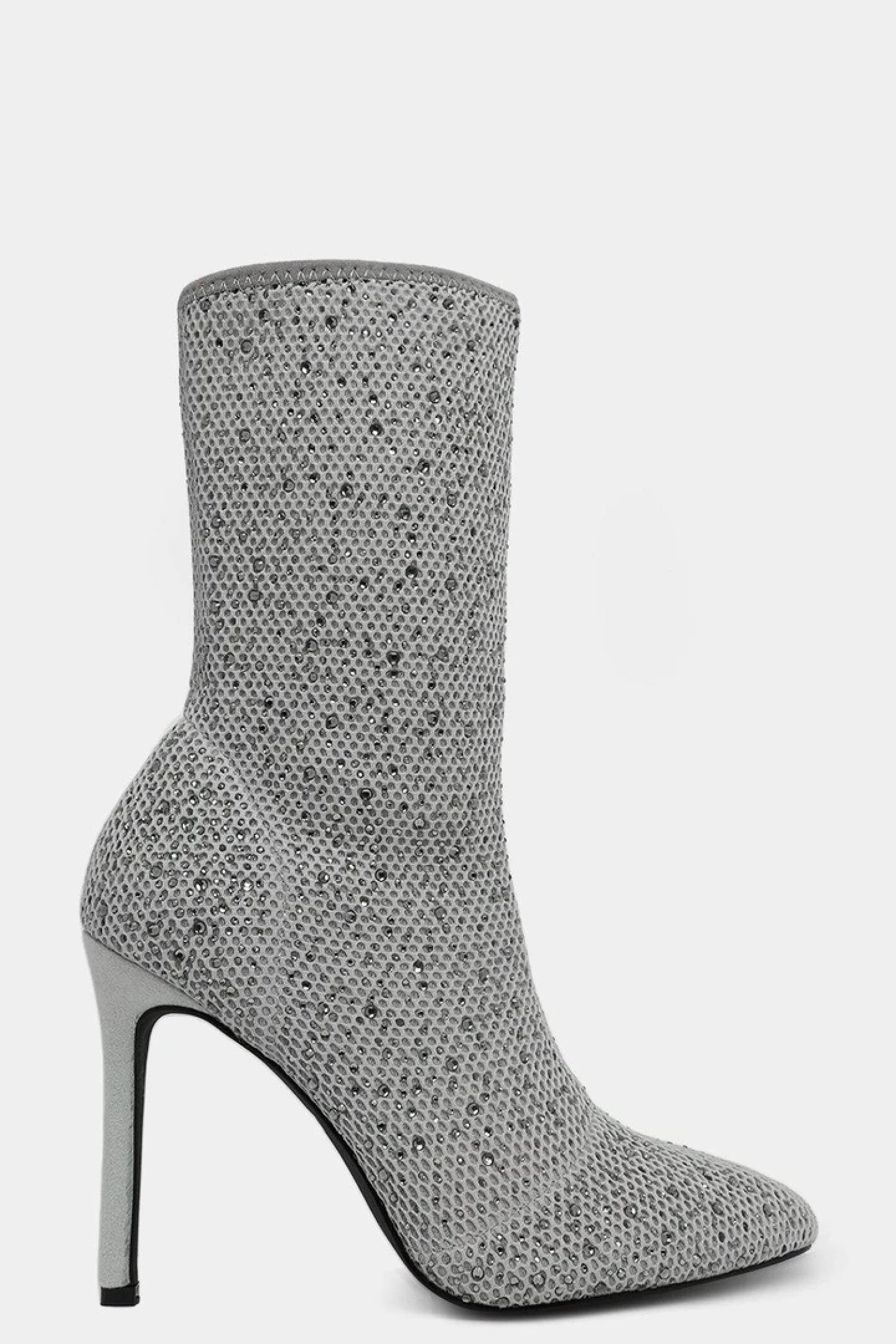 GREY CRYSTALS EMBELLISHED KNIT STILETTO BOOTS £17.99 Free Postage