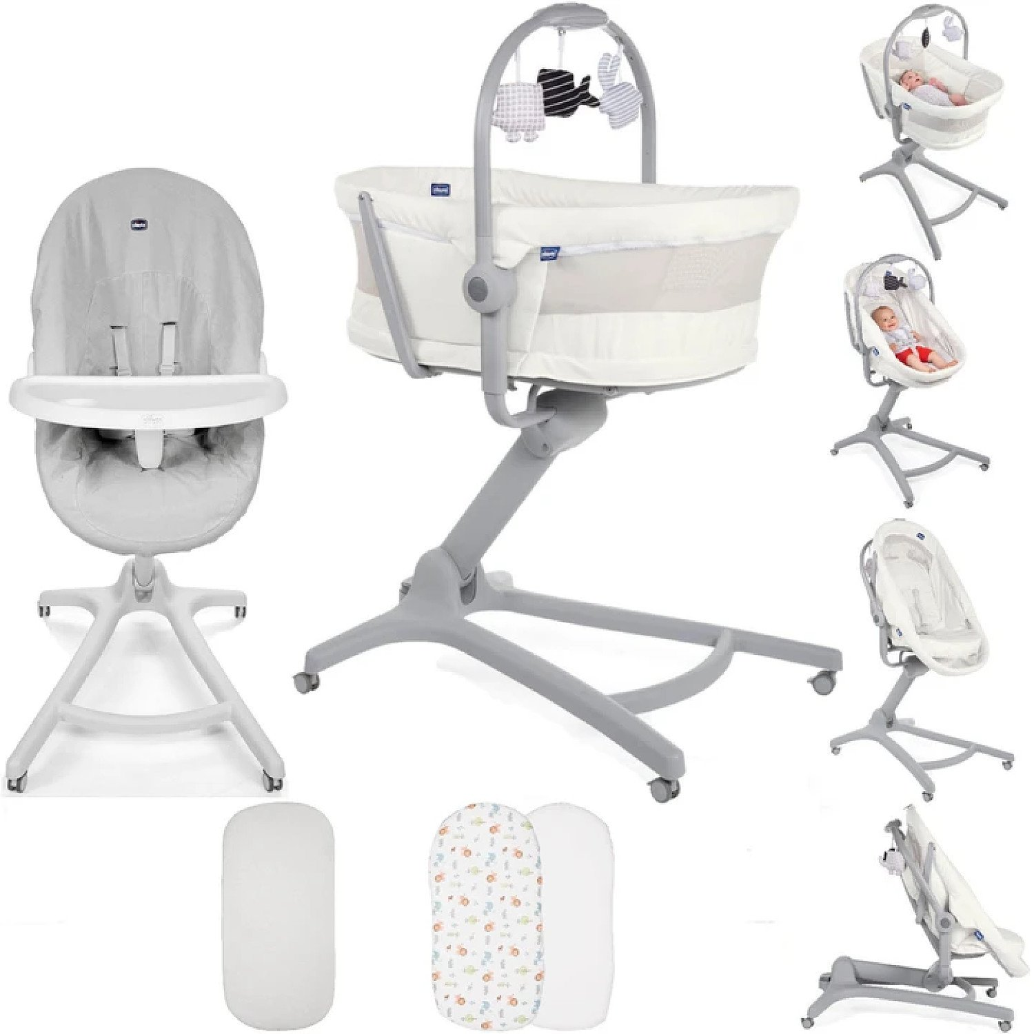 Chicco 5 Piece 4in1 Baby Hug Seat, High Chair & Crib Meal Time Nursery Bundle - White Snow