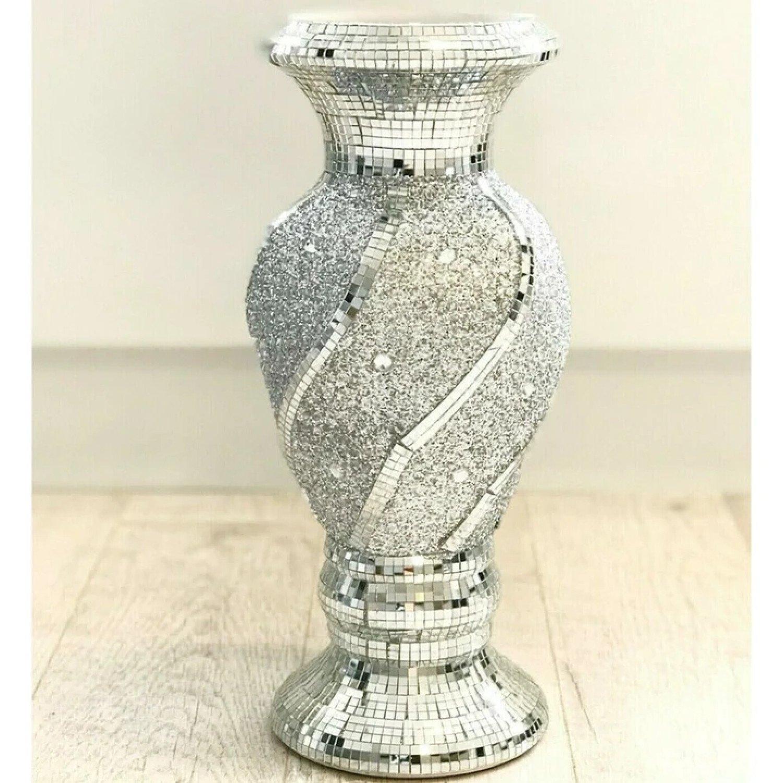 Beautiful Mosaic Vase Diamond Silver Free Postage