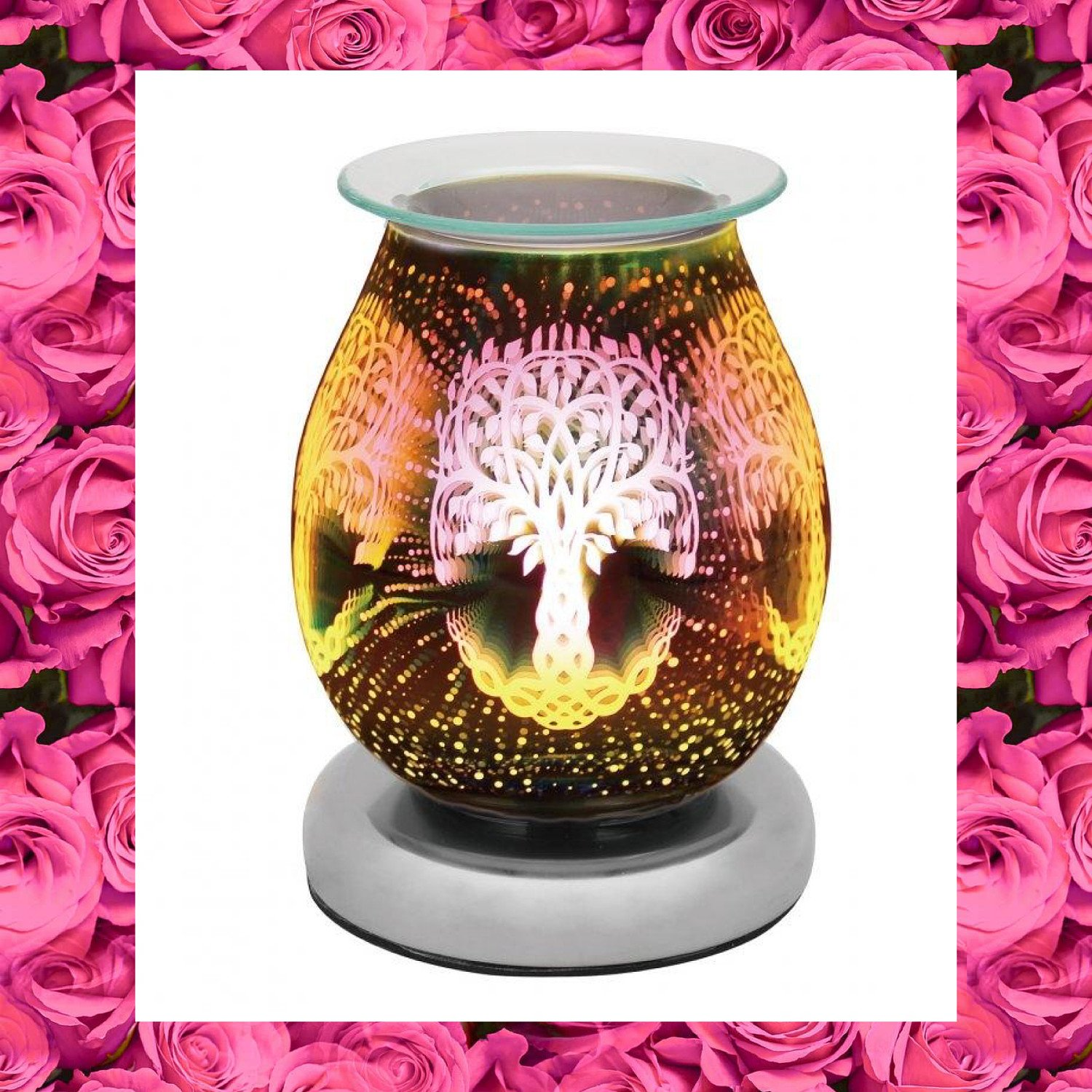 Touch Sensitive Round Aroma Lamp - Tree Of Life