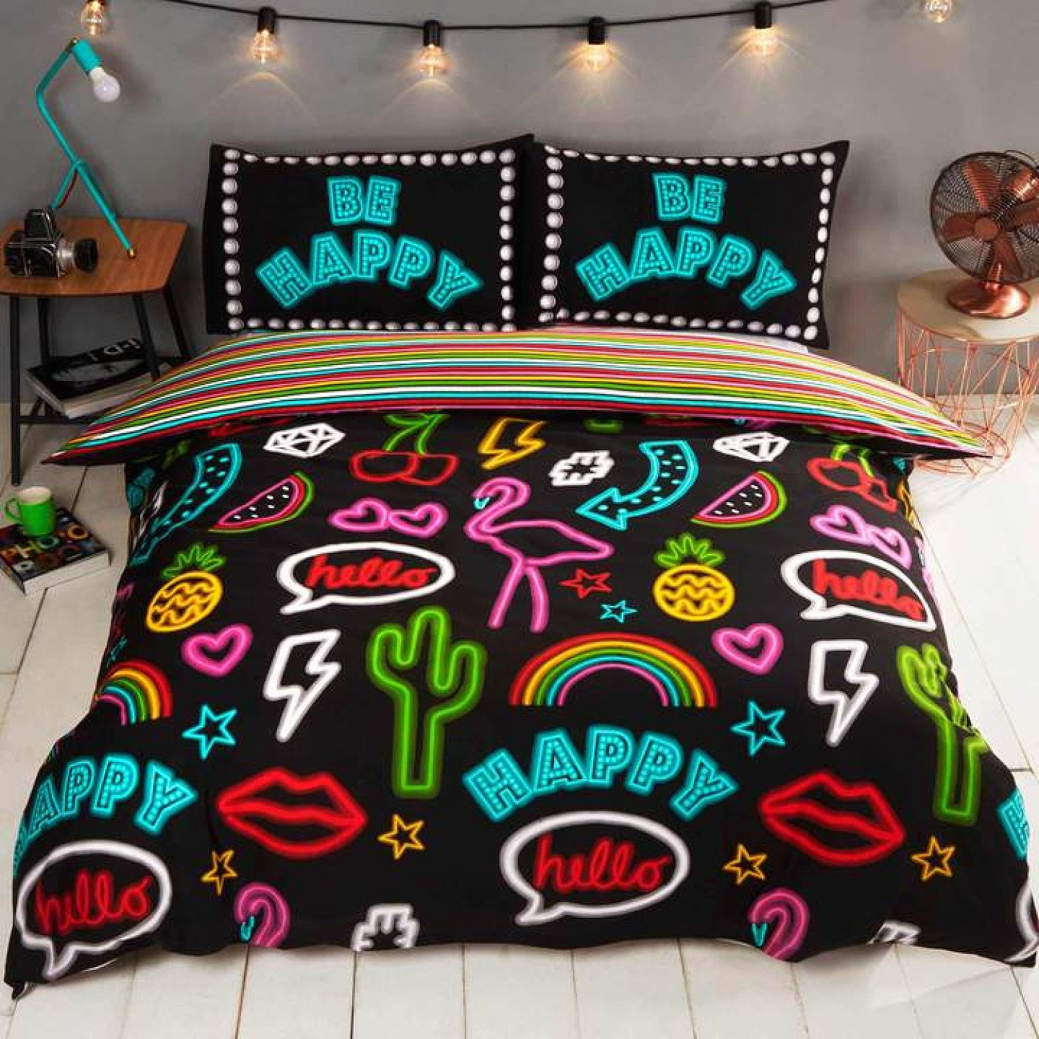Be Happy Neon Sign Multi Duvet Cover Set