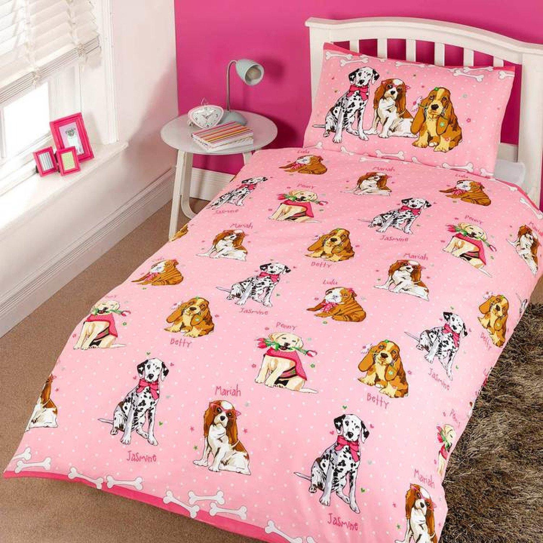 Doggies Cute Polka Dot Pink Kids Duvet Cover Set