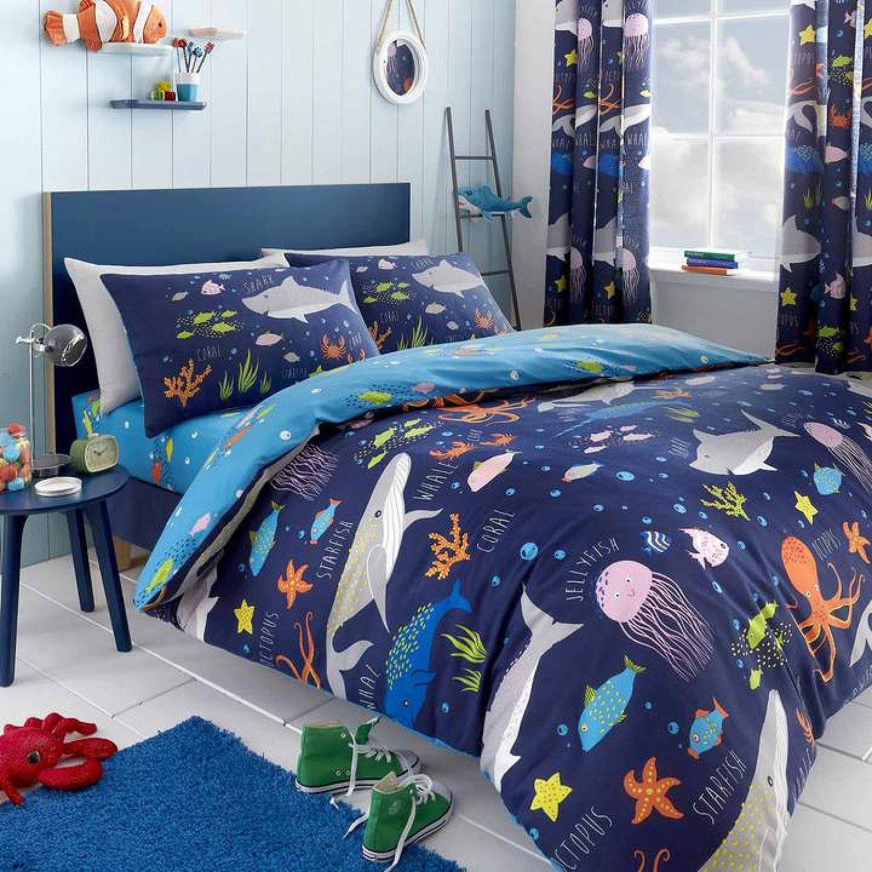 Sea Life Glow in the Dark Blue Kids Duvet Cover Set