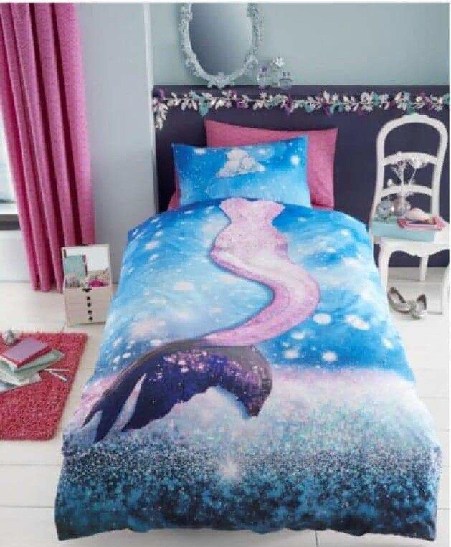 Mermaid Duvet Cover Kids Bedding Children Pink Bed Set For Girls