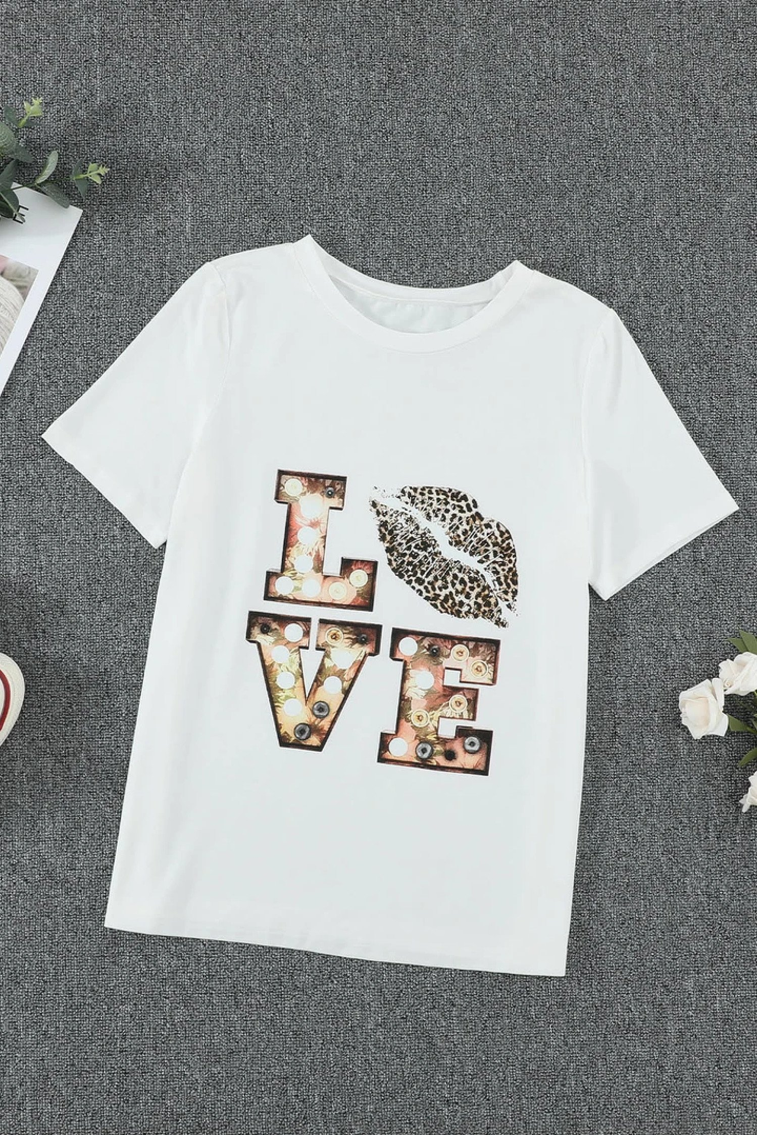 White Crew Neck Cartoon Letter Print Top £14.99 Free Postage