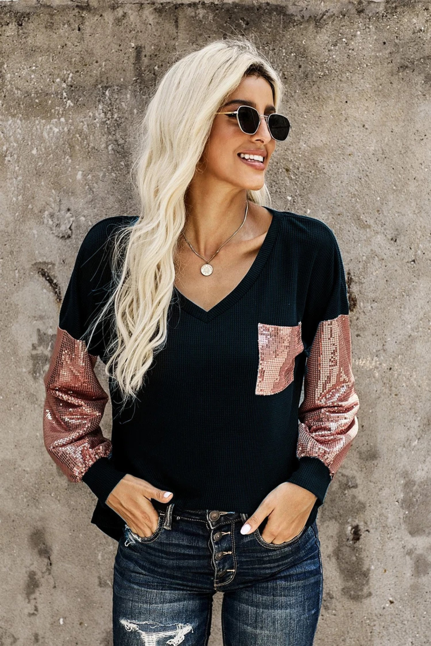 Sequin Splicing V Neck Bishop Sleeves Top £16.99 Free Postage