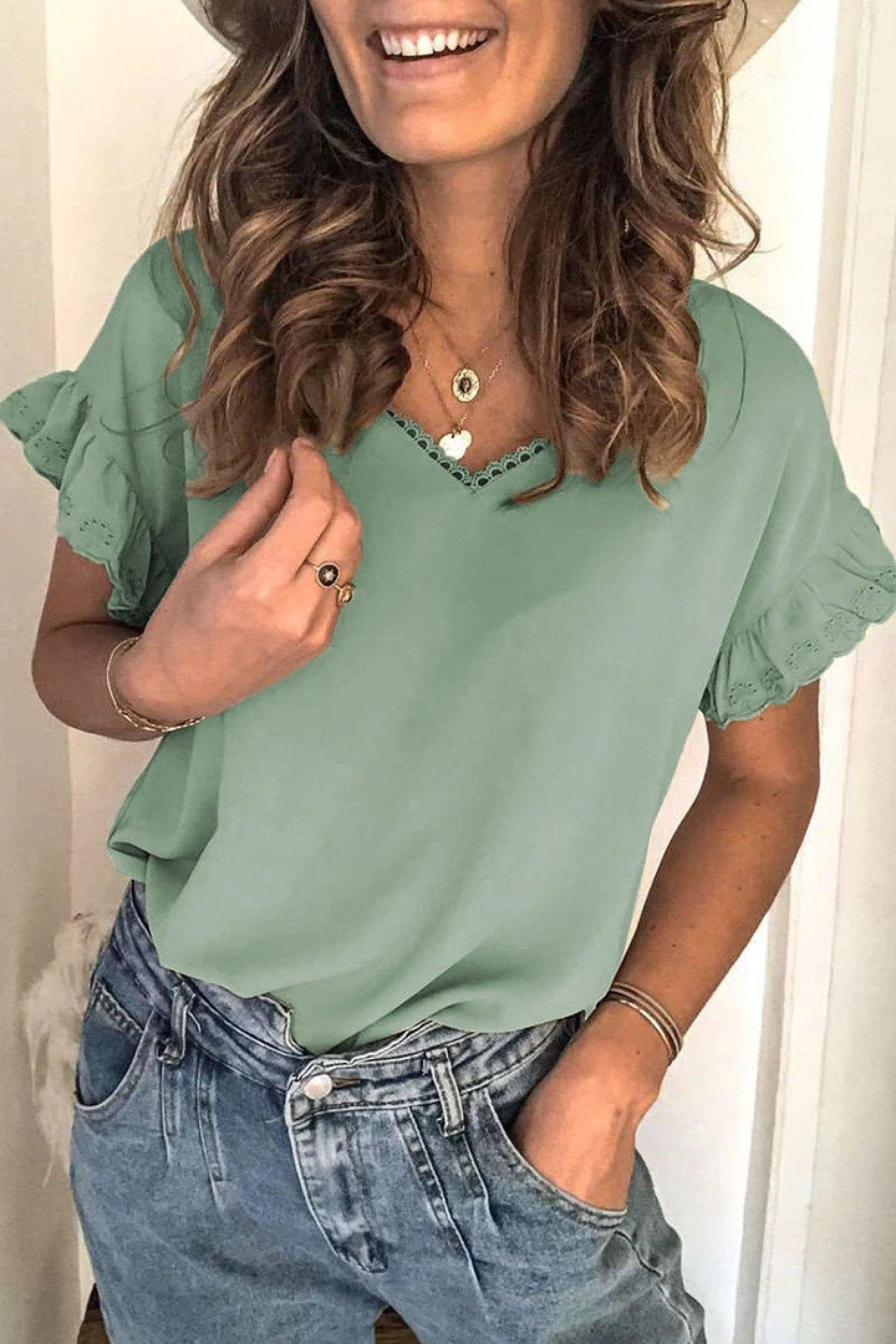 Green V Neck Ruffle Short Sleeve T-shirt £14.99 Free Postage