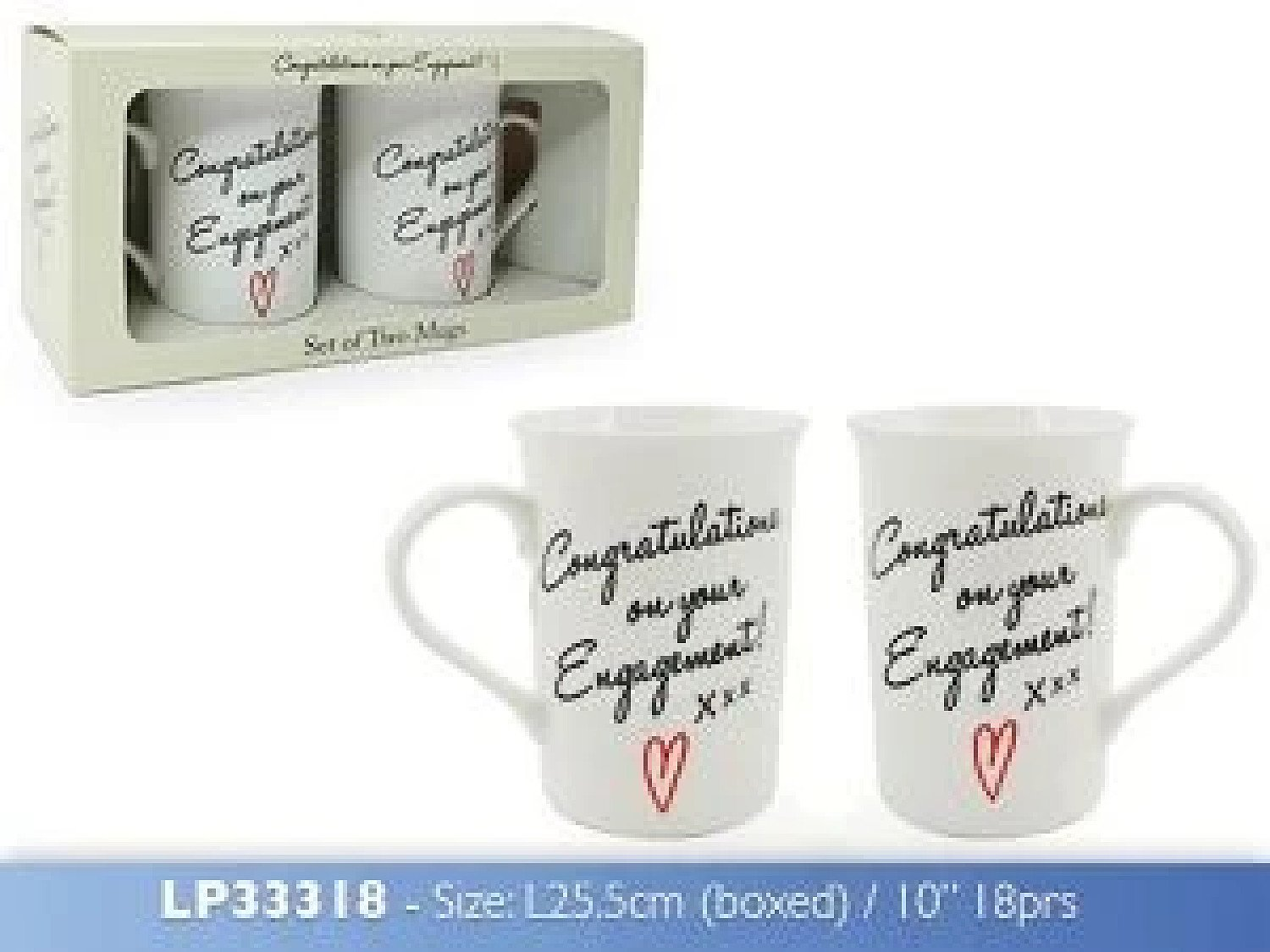 Congratulations On Your Engagement Set Of 2 Cups Mugs Gift Pack £13.99 Free Postage