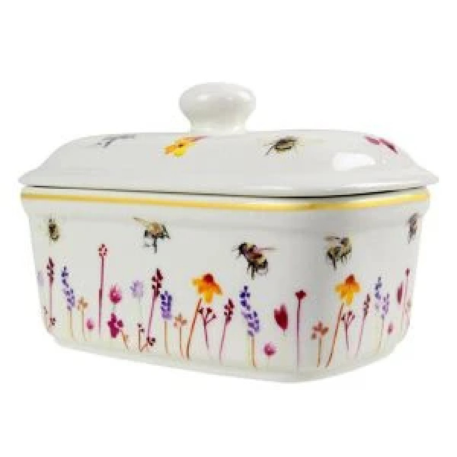Busy Bees Ceramic Butter Dish with Lid Watercolour Flowers Print Floral Design £21.99 Free Postage