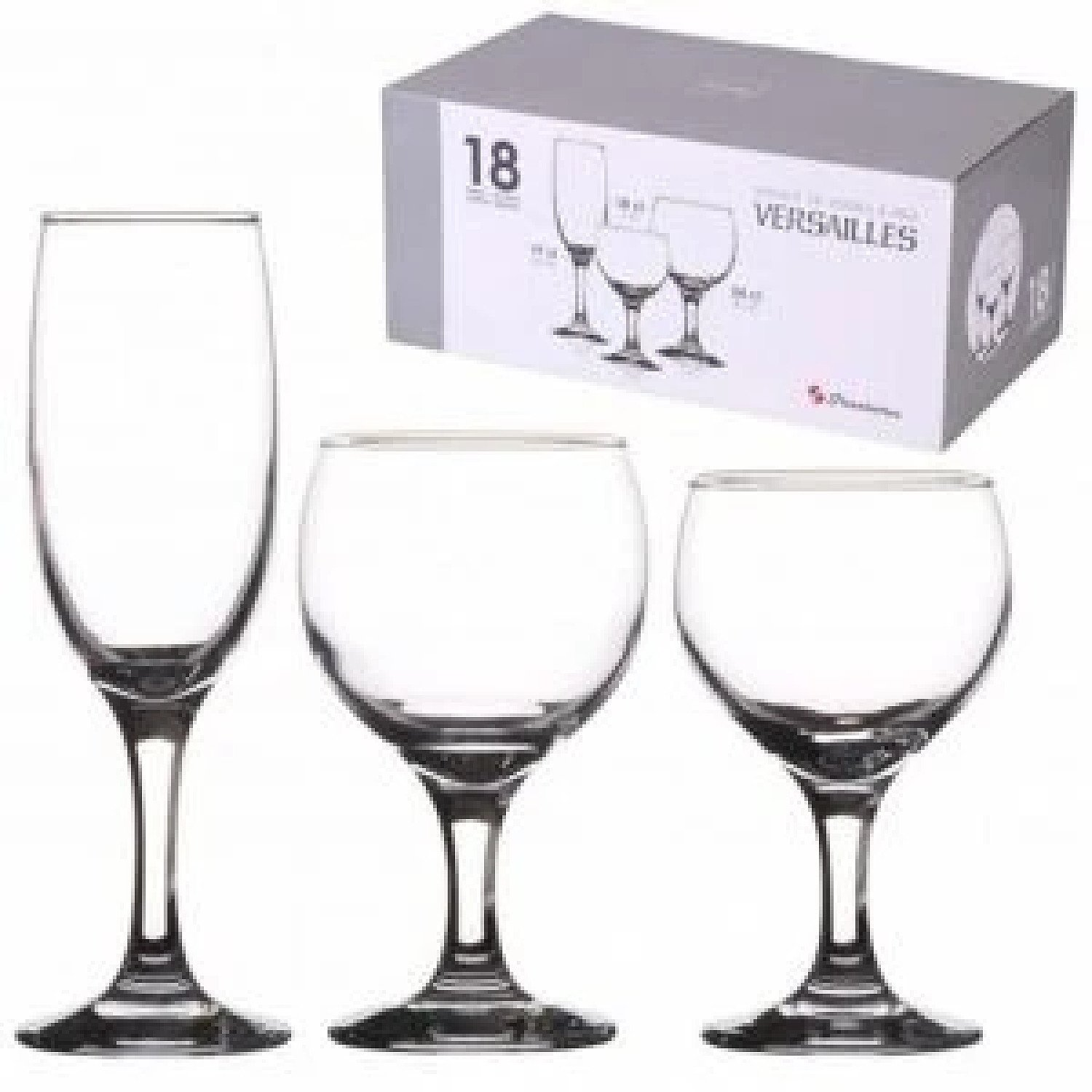 Arcopal 18pcs Pacome Steamware Glass Set Wine Flute Glasses £17.99 Free Postage