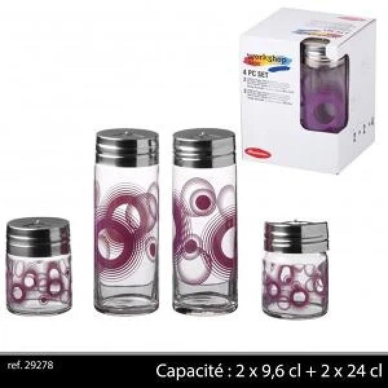4Pc Glass Condiment £13.99 Free Postage