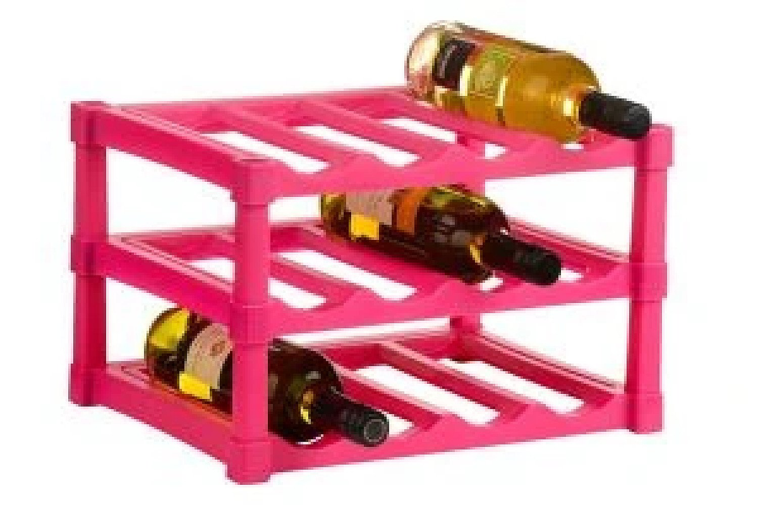 3 Tier Hot Pink Wine Rack for 12 Bottles made from Plastic £17.99 Free Postage