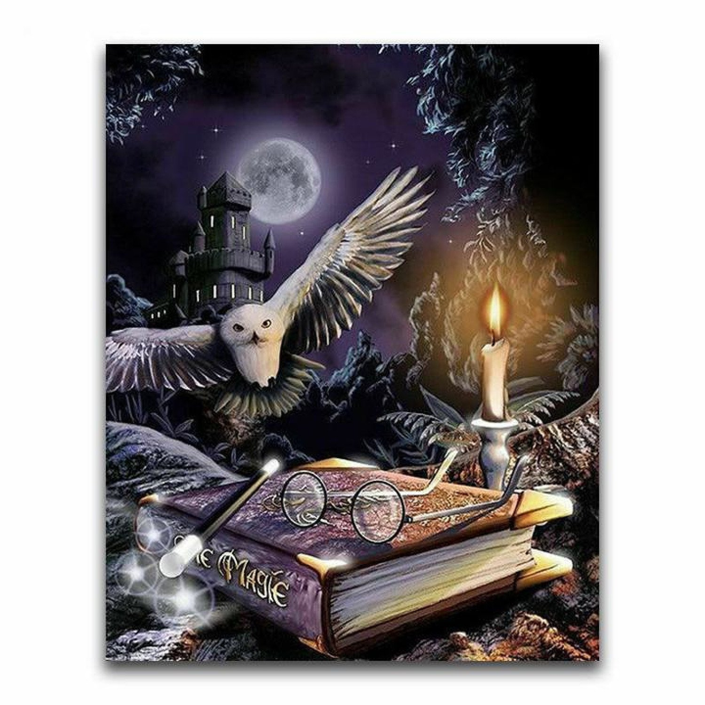 Magic Book & Owl 5D Diamond Painting Embroidery Full Drill Cross Stitch
