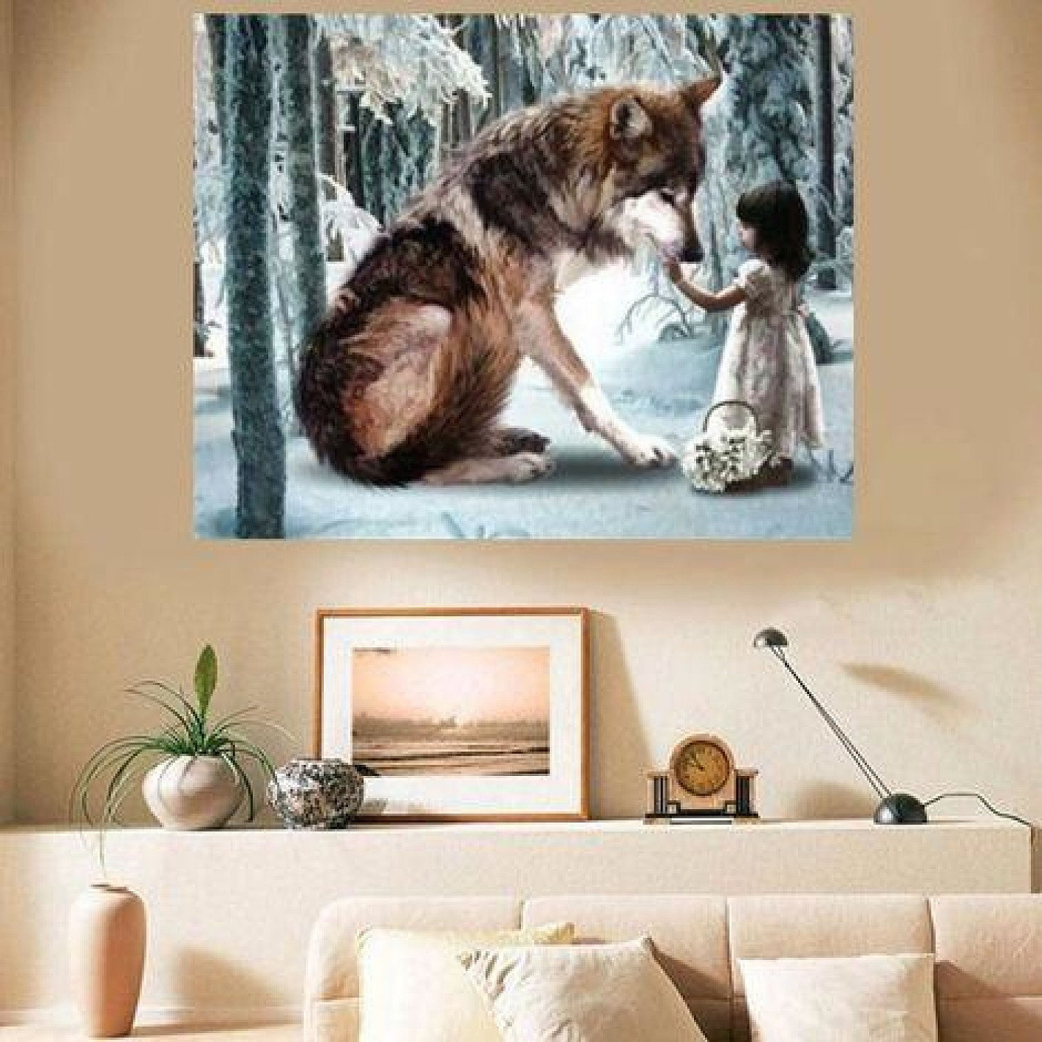 30 * 40 Cm Diy 5D Diamond Wolf Girl Embroidery Painting Paste Stitch House