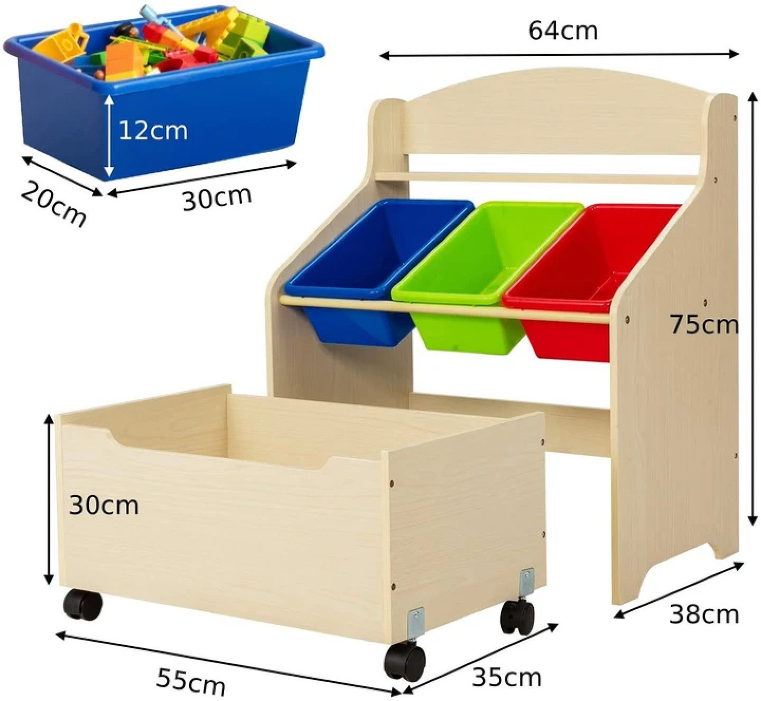 Children Toys Container/ Book Shelf for Playroom Free Postage