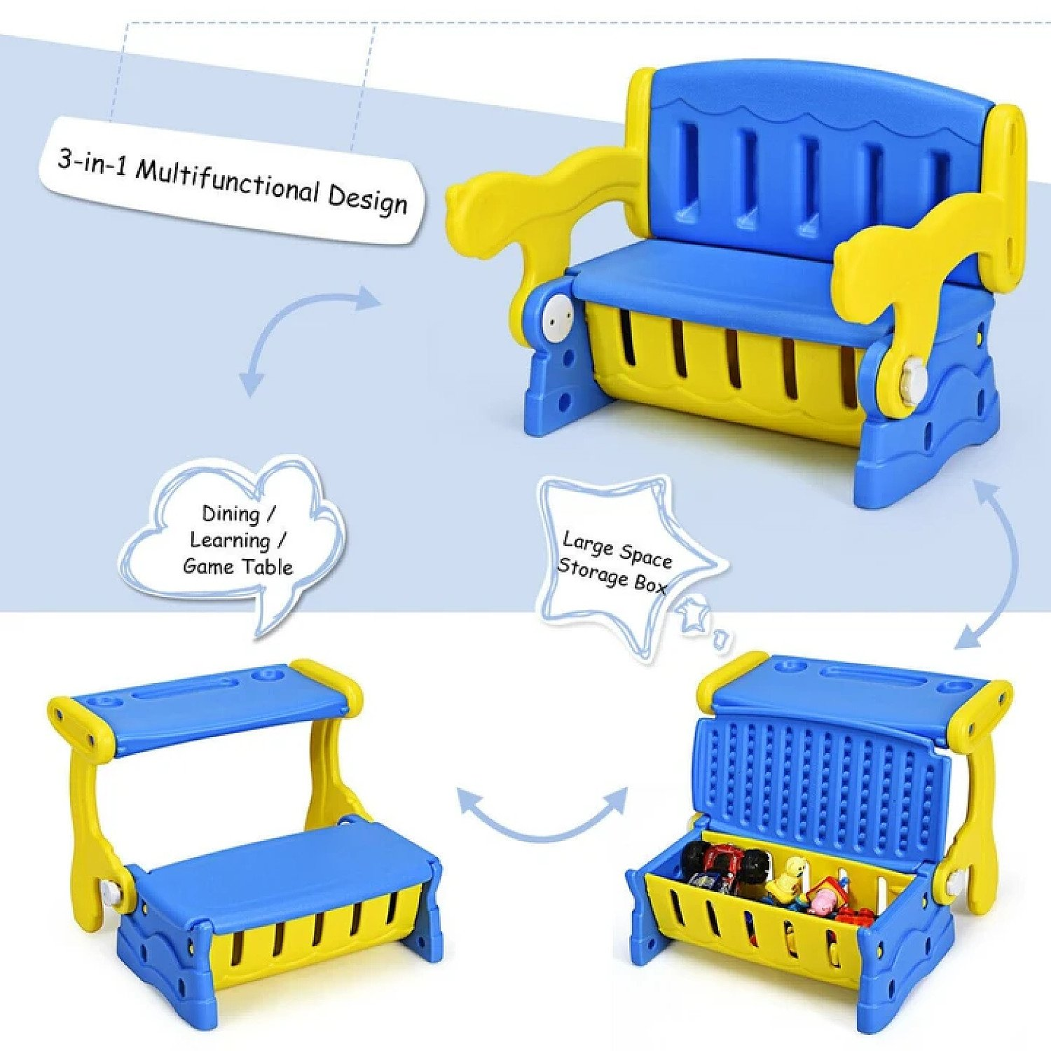 3-in-1 Multifunction Children's convertible Bench, Desk with Storage Free Postage