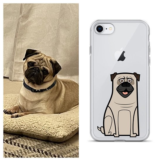 iPhone case with cartoon character of your own dog/cat with clear background