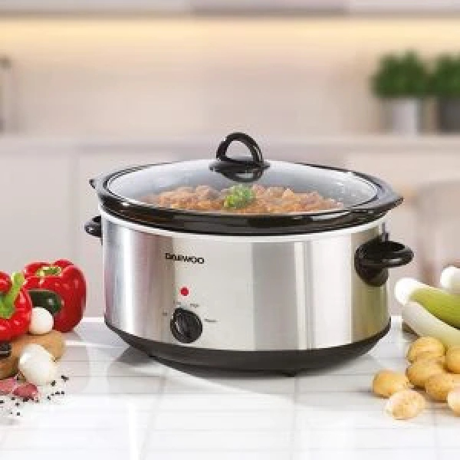 Daewoo 6.5L Slow Cooker | Stainless Steel | 3 Heat Settings | Dishwasher Safe Pot & Lid Free Postage
