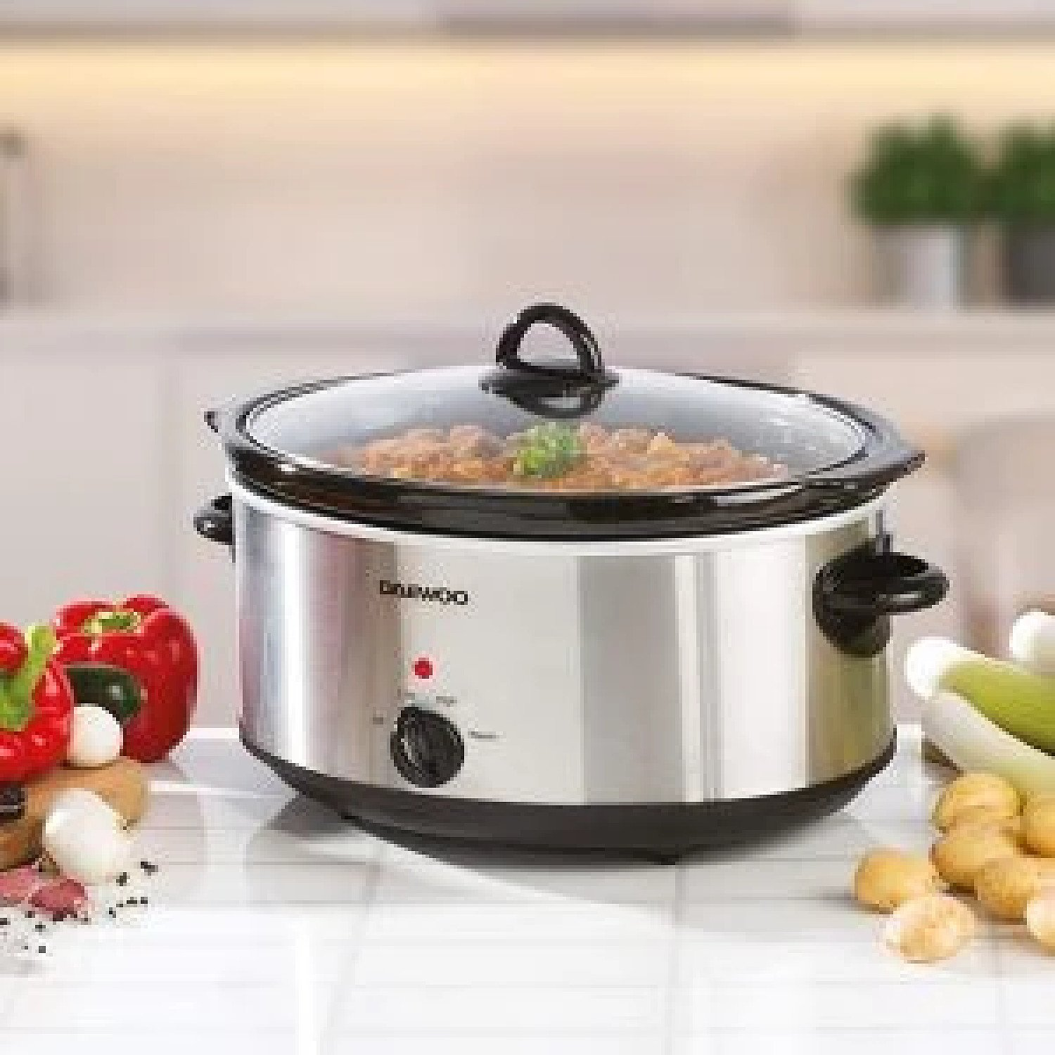 Daewoo 6.5L Non Stick Slow Cooker Stainless Steel Family Size Dishwasher Safe Free Postage