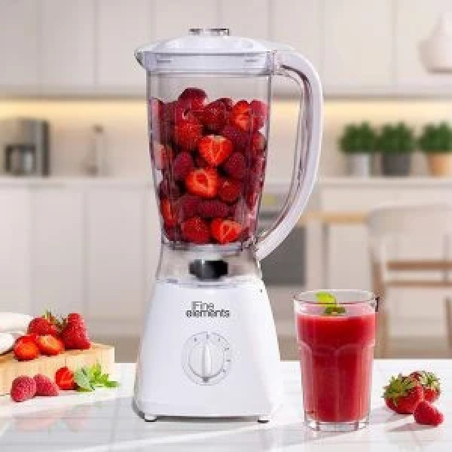 Fine Elements Jug Blender with Coffee Grinder Attachment 1500ml Capacity White Free Postage