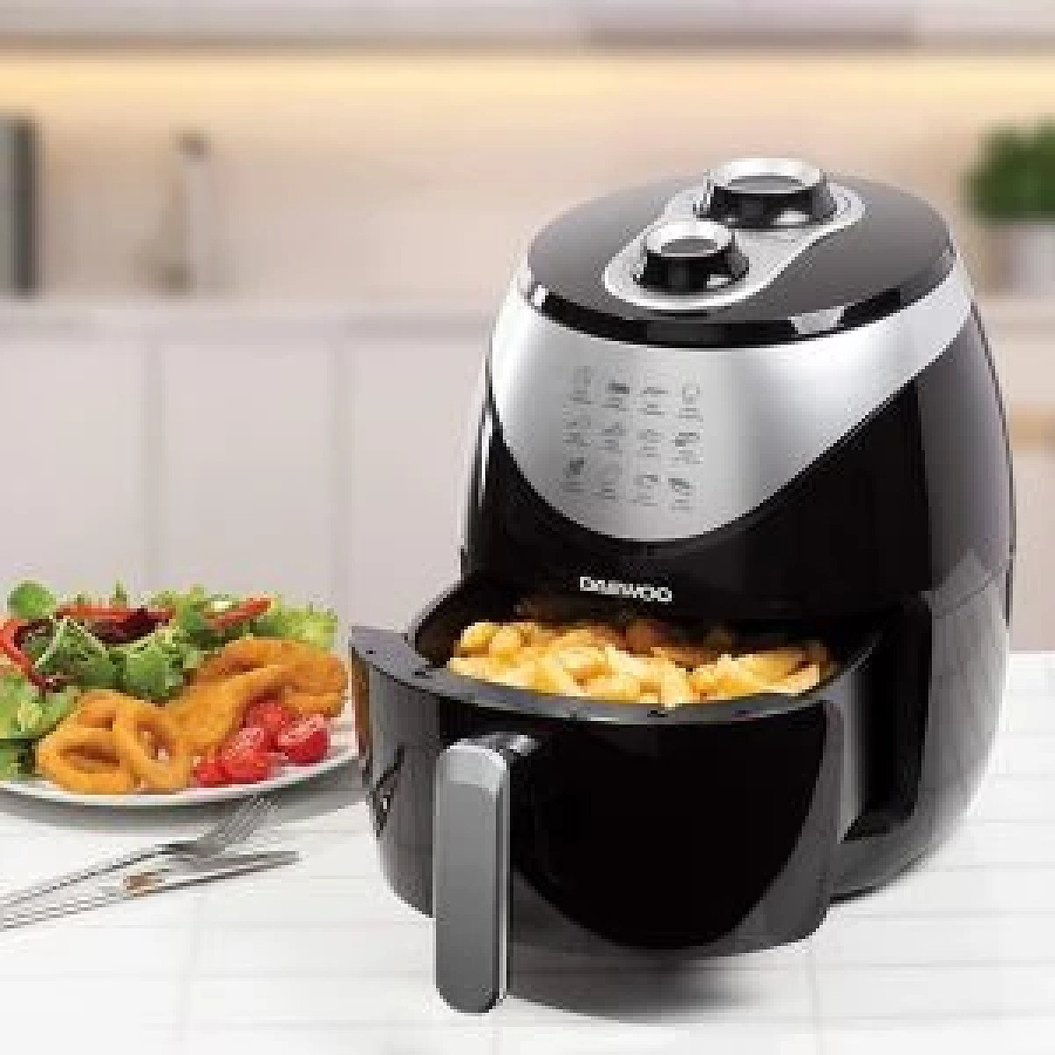 Daewoo 4Lt Healthy Digital Hot Air Fryer Low Fat No Oil Non-Stick Cooking Black Free Postage