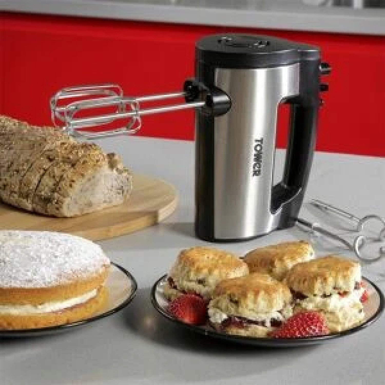 Tower Stainless Steel Electric Food Hand Mixer Mix Baking Whisk Blender Beater 6 Speed Free Postage