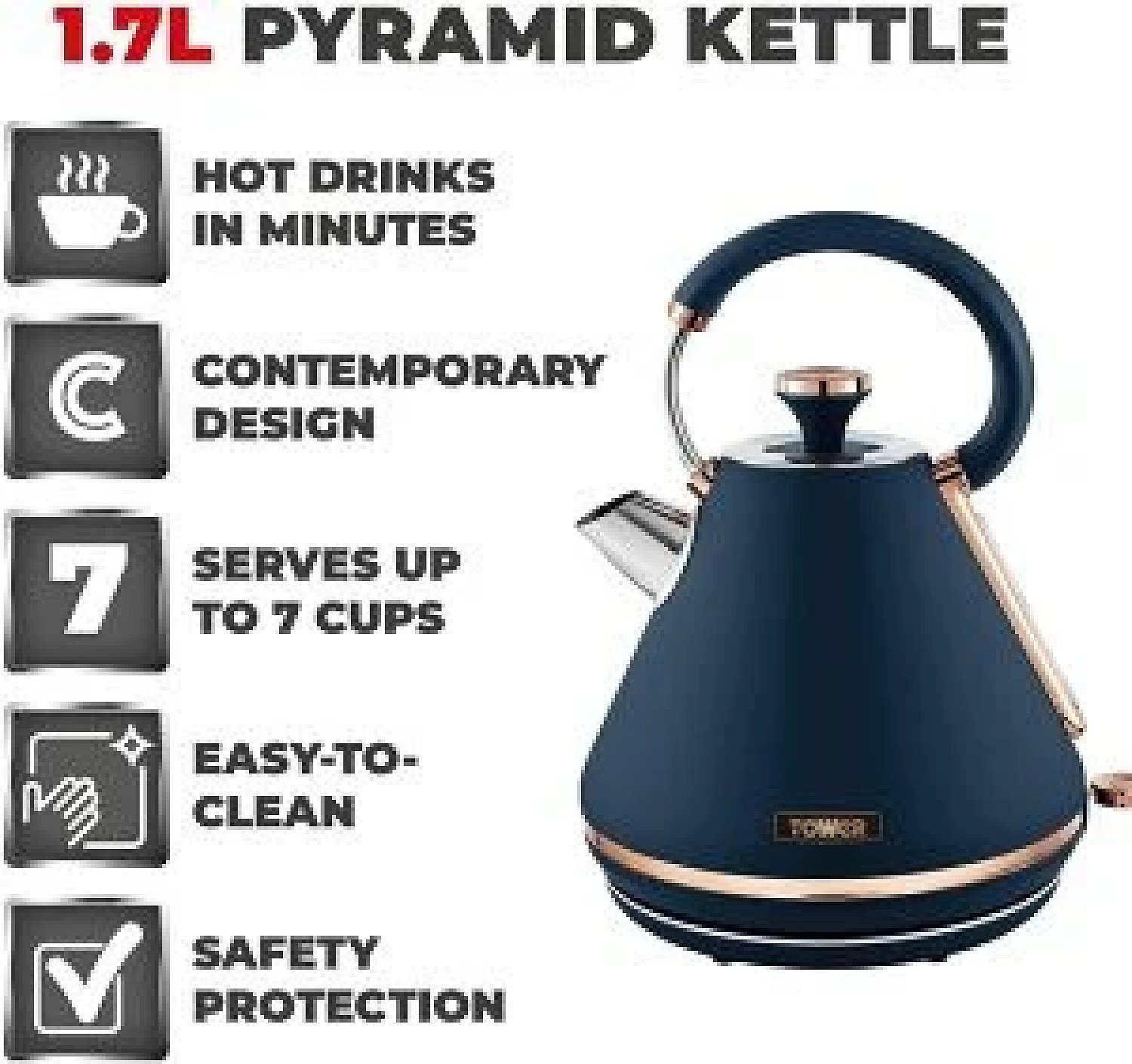 Tower Cavaletto 1.7L 3000W Pyramid Kettle - Blue/Rose Gold Free Postage