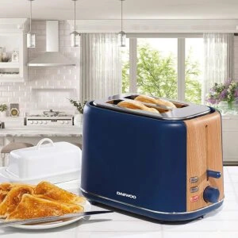 Daewoo Stockholm 2 Slice Blue Matte Finish Wood Effect Toaster 6 Time Settings Free Postage