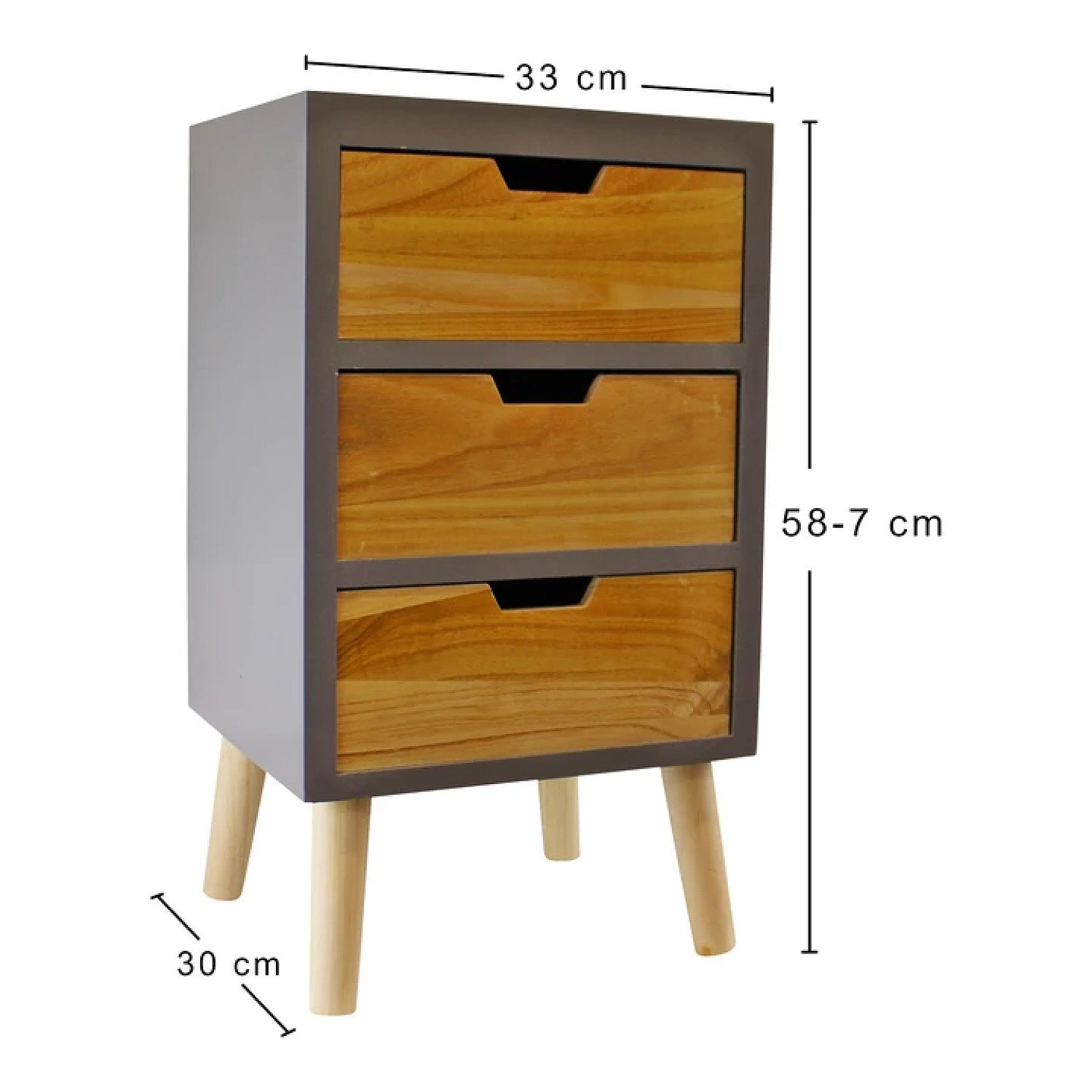 3 Drawer Chest In Grey Finish With Natural Drawers With Removable Legs Free Postage