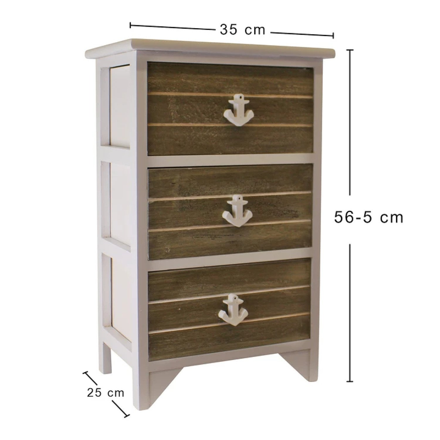 Chest Of 3 Drawers With Nautical Anchor Handles In Grey & White Free Postage