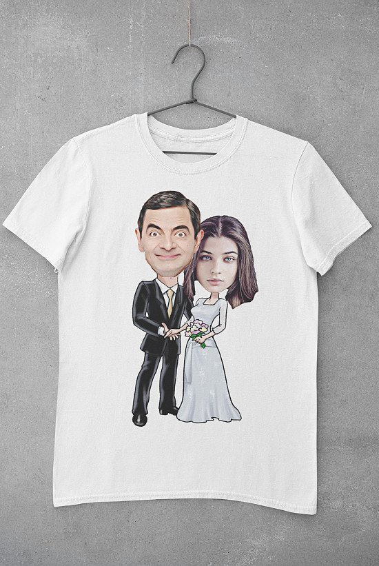 Wedding   Characters Caricature Personalised T-shirt   IBrand