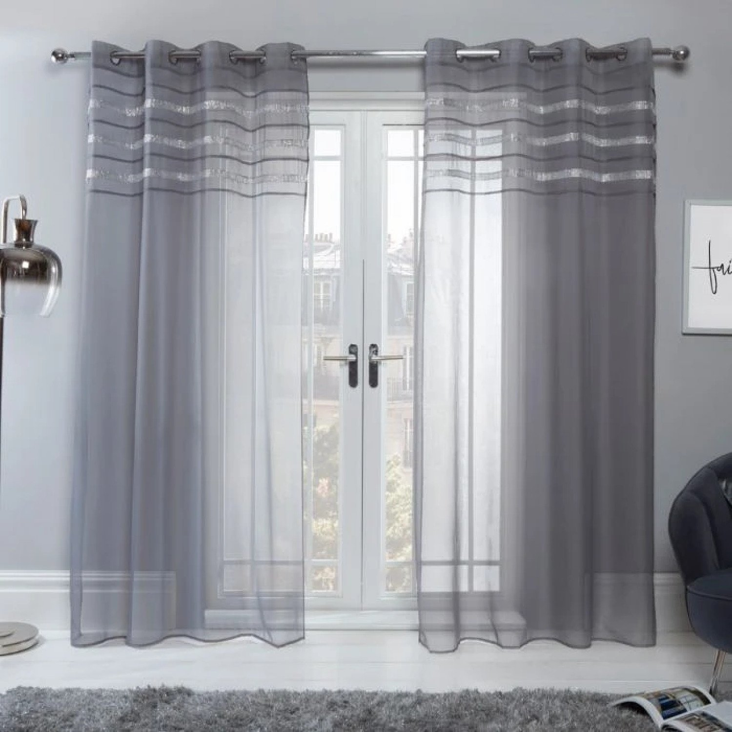 "SIENNA LATINA DIAMANTE VOILE NET CURTAINS EYELET, CHARCOAL GREY - 55"" X 87"" Free Postage"