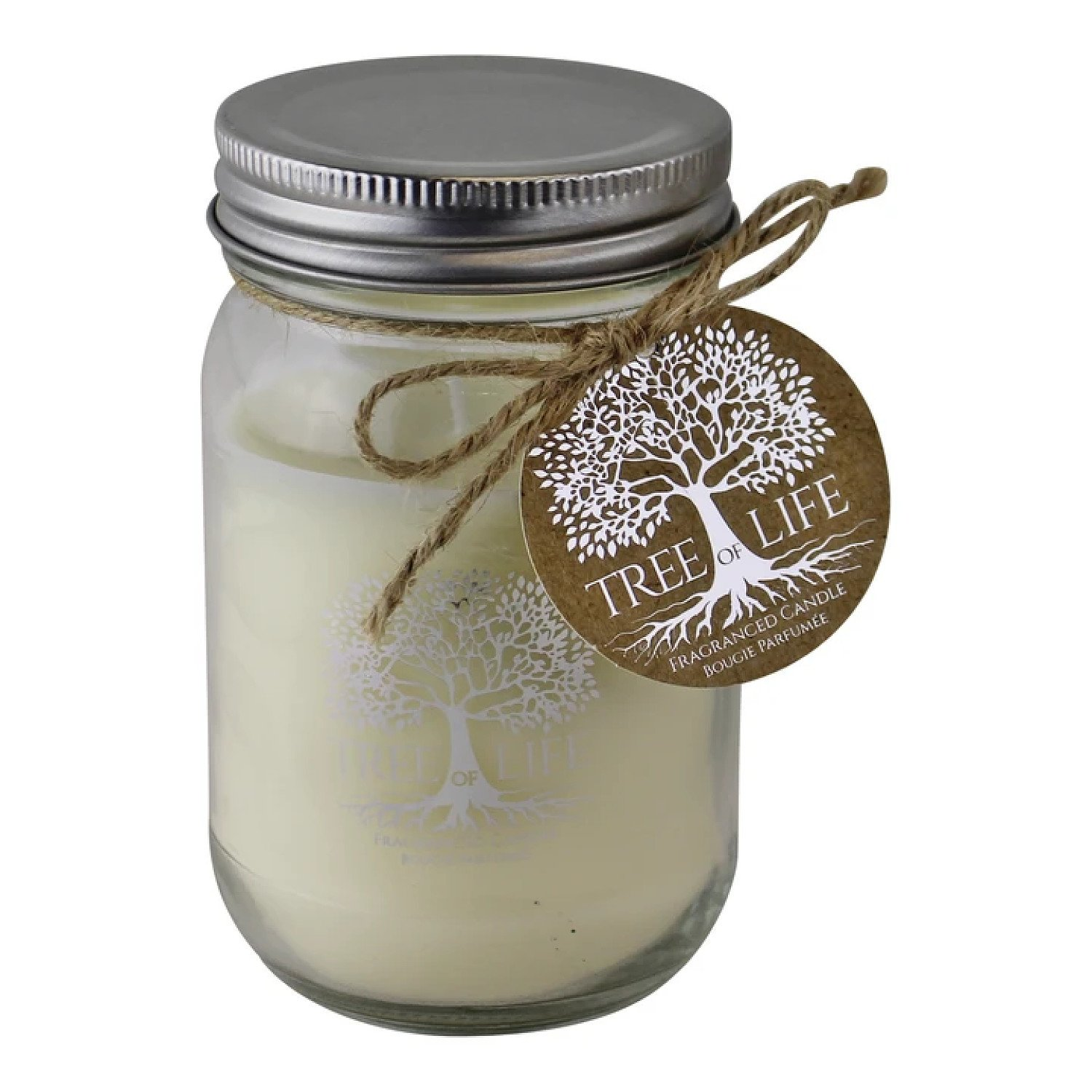 Tree Of Life Fragranced Candle In Glass Jar With Lid Free Postage