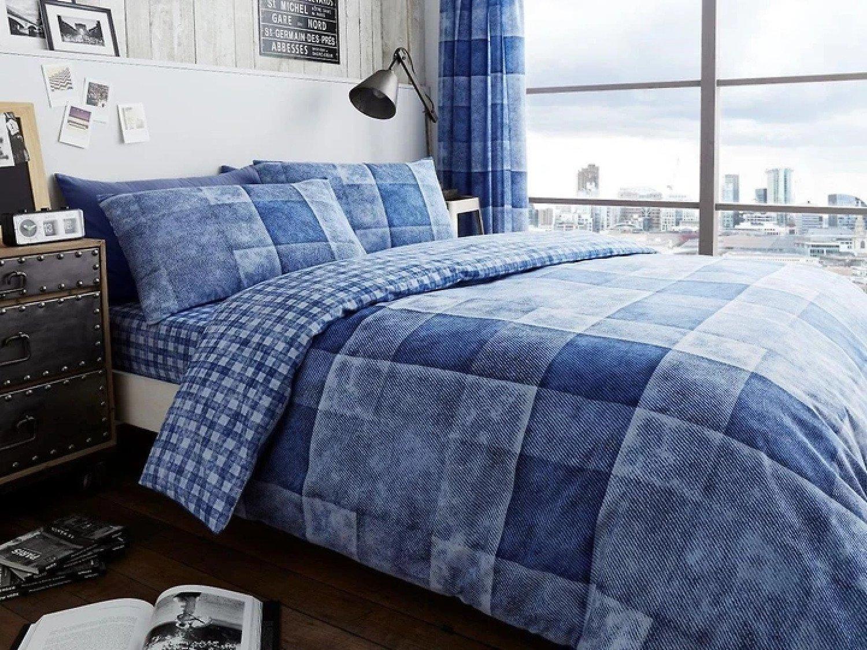 ( Blue) Denim Check Duvet Cover Bedding Set Free Postage