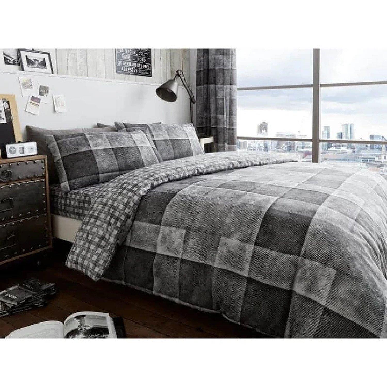 ( Grey) Denim Check Duvet Cover Bedding Set Free Postage