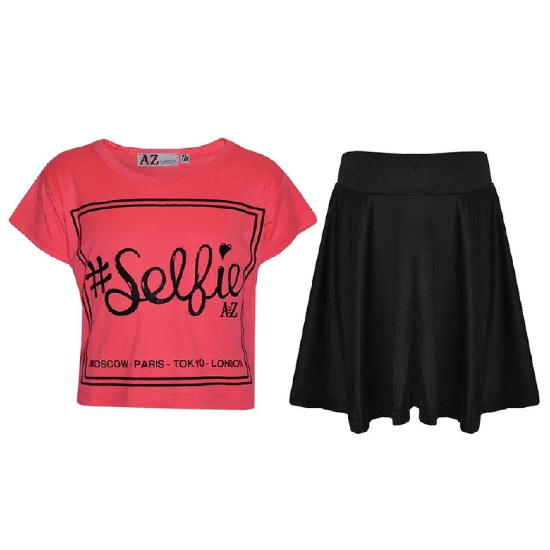 ( Neon Pink) Girls Selfie Print Stylish Crop Top & Skater Skirt Set Age 5-13 Years Free Postage