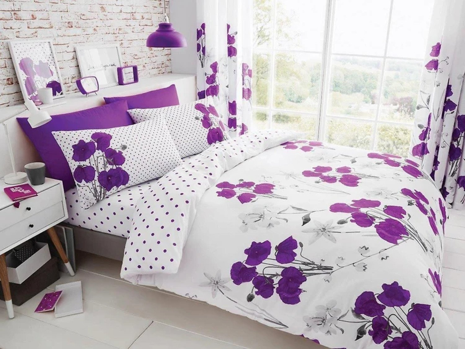 ( Purple) Poppy Floral Duvet Cover Free Postage
